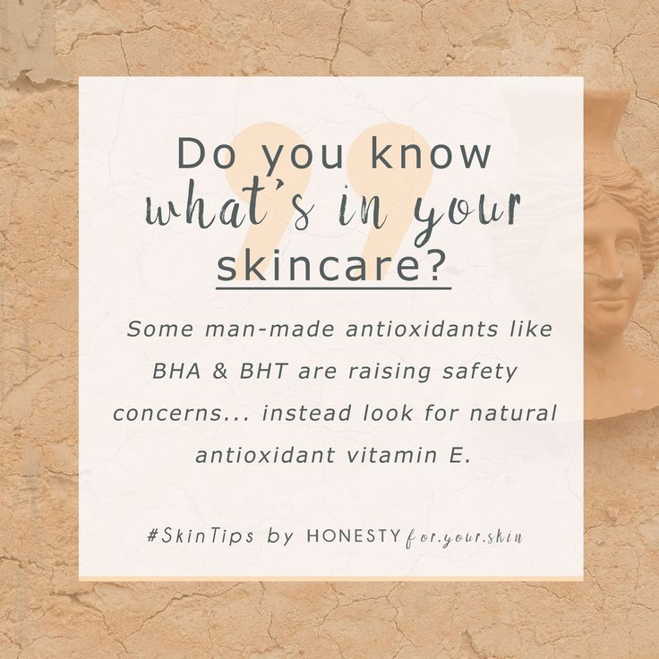 Choosing natural skincare can be easy when you know which ingredients are tell-tale signs of non-natural skincare. See BHT or BHA on a skincare ingredients list and it's not natural, instead look for natural vitamin E. Click above to learn the key tell tales of all natural skincare...