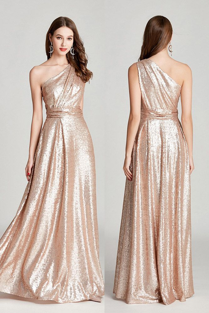 bdf145af6217f Only $95, Sparkly Pleated Long Gold Sequin Prom Dress In One Shoulder  #CK780 at SheProm. #SheProm is an online store with thousands of dresses,  ...