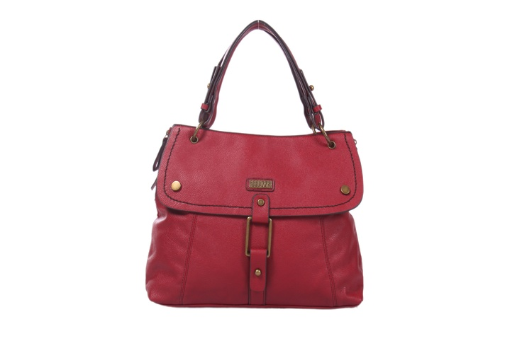 Red faux leather bag with buckle in front; H-29cm; L- 41cm; W-10cm #Fashion #Style #Colors #Bags #Design #Casuals #W for #Woman