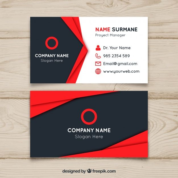 Red And Black Business Card Design Free Vector Business Card Design Black Business Card Design Visiting Card Design