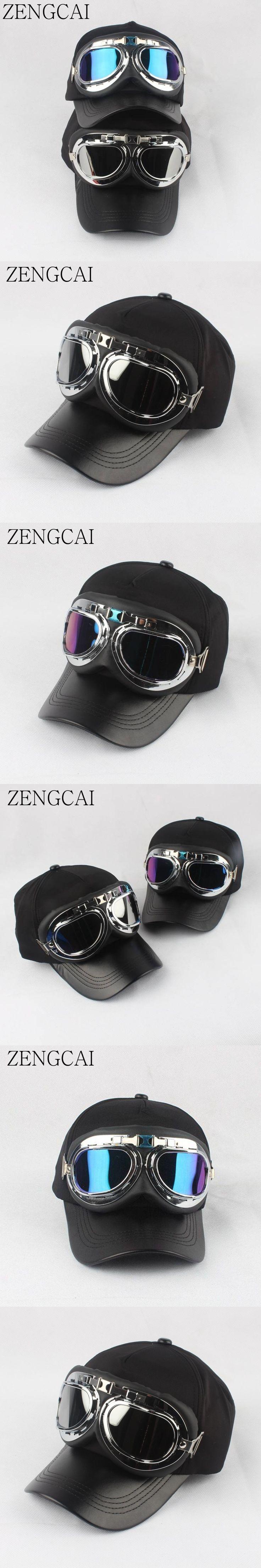 ZENGCAI Cool Snapback Cap Women Men Retro Pilots Glasses Design Baseball Caps Trendy Couple Lover Hats Black Cotton Unisex Cap