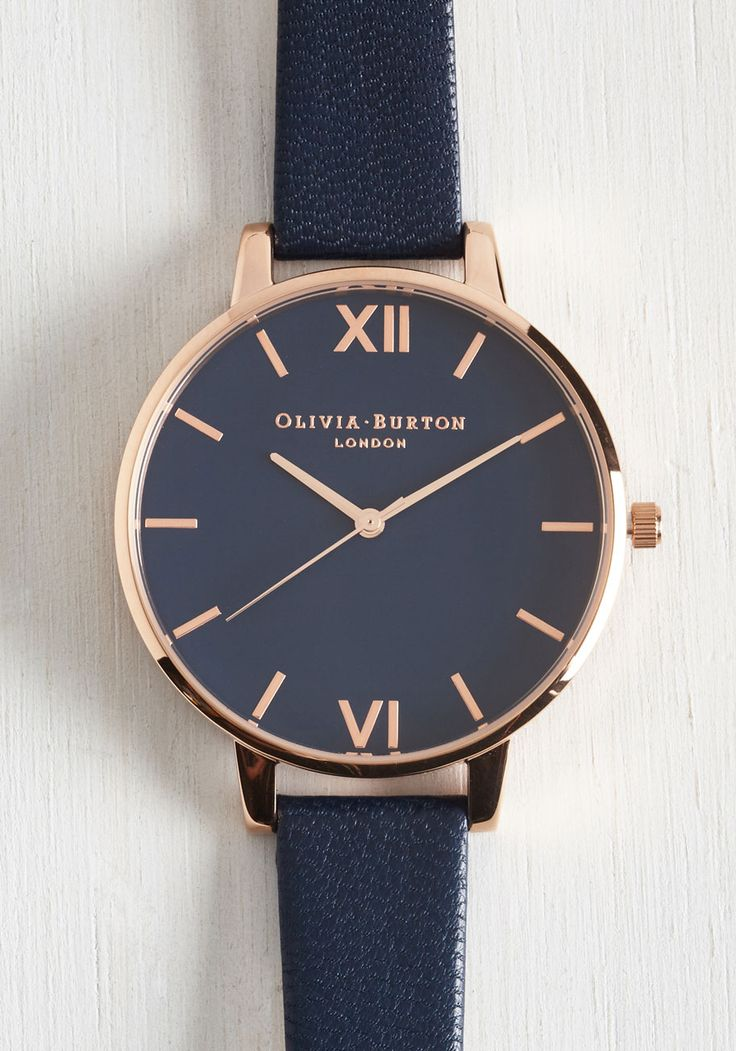 Classic Company Watch in Navy & Rose Gold - Big. Add timeless elegance to any ensemble with this navy Big Dial watch by Olivia Burton! #blue #modcloth