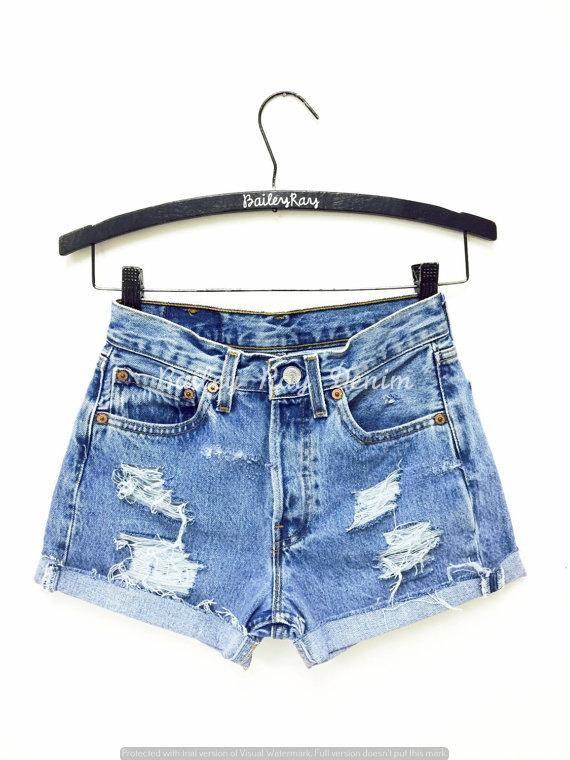 Levis Shorts High Waisted Cutoffs Denim Distressed Cheeky Etsy High Waisted Shorts Denim High Waisted Ripped Shorts Distressed High Waisted Shorts