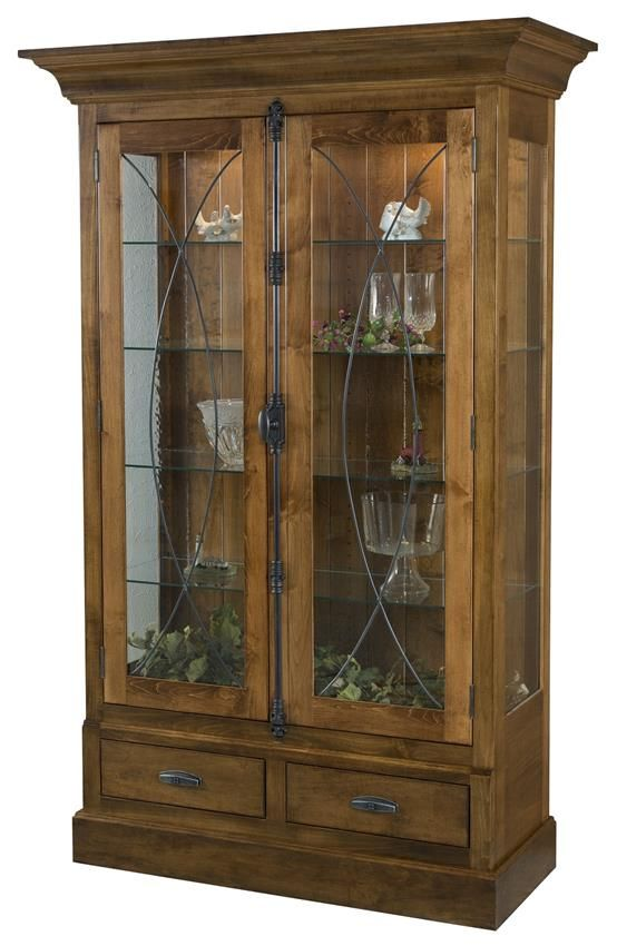 Amish Barstow Curio Cabinet Enjoy your collections without having to dust them. The Amish Barstow Curio Cabinet offers maximum viewing with gorgeous leaded glass doors.