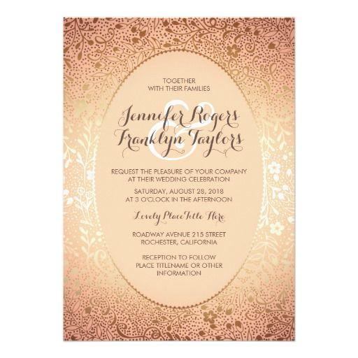 Blush Gold Floral Vintage Wedding Invitations