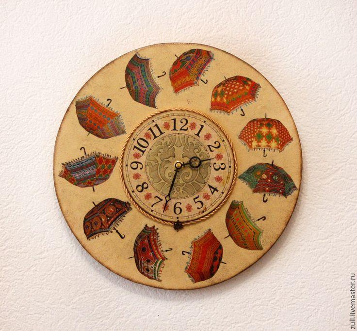 """Купить Часы настенные, большие """"Зонтики"""" - комбинированный, часы, часы настенные, часы интерьерные"""