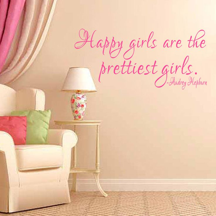 Girls Room  Wall Decal Happy girls are the prettiest girls - Audrey Hepburn Nursery Bedroom Vinyl Sticker 46cm x 102cm