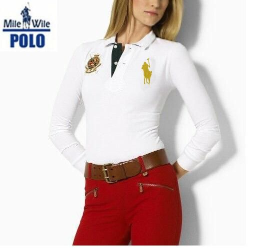 2015 spring auturn big horse 100% Cotton Womens brand Embroidery long  Sleeve solid polo ralph