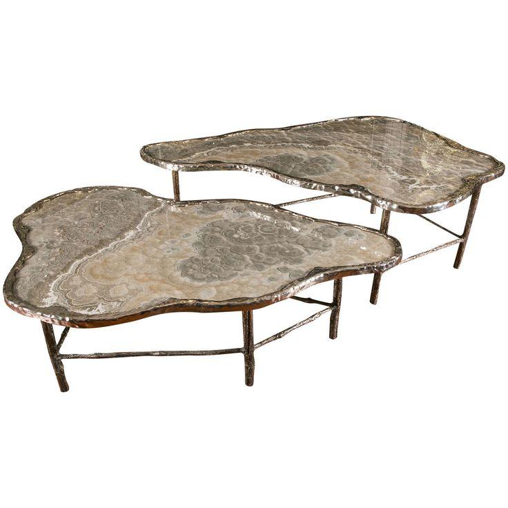 Marvelous Pair Of Meteorite Onyx Low Tables