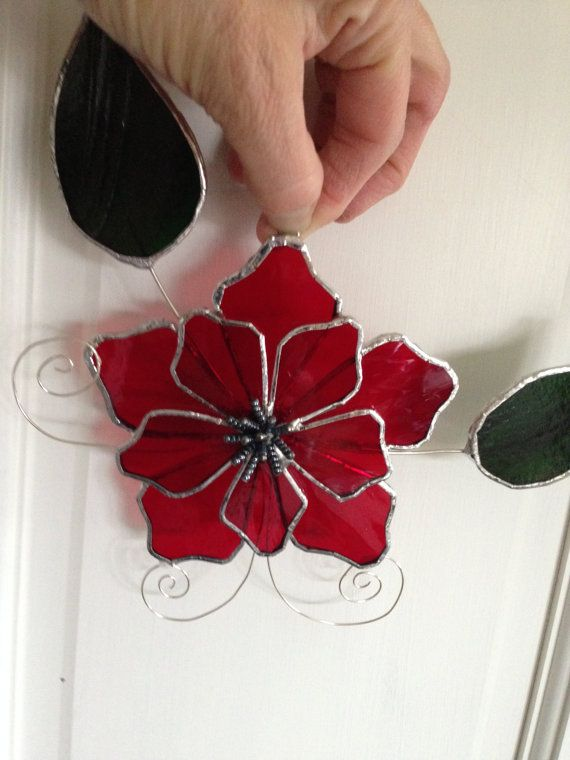 Stained Glass Flower Suncatcher, Red