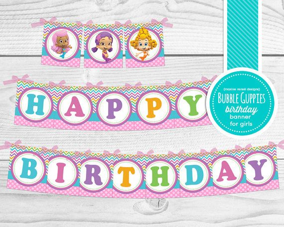 Instant Download - Printable Bubble Guppies Happy Birthday Banner for Girls Complete with Characters - Square Banner - YOU PRINT