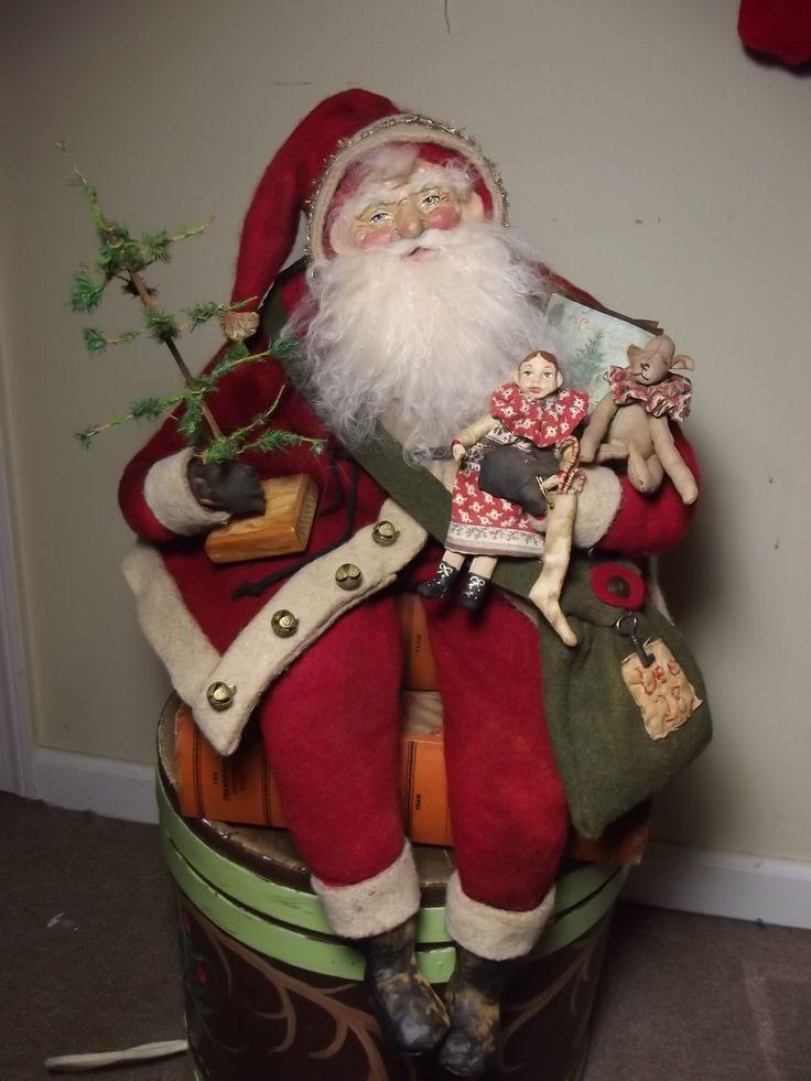 rf x asics gel lyte iii denim Handmade Santa Claus Doll  amp  Teddy Bear By Kim Sweet Kim  39 s Klaus 2015 OoAk Vintage Antique Christmas Folk Art Doll