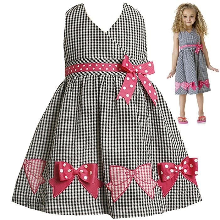 Size-4T,BNJ-9209M BLACK WHITE PINK GINGHAM-CHECK BOW BORDER HEM SEERSUCKER HALTER Spring Summer Girl Party Dress,M29209 Bonnie Jean TODDLERS