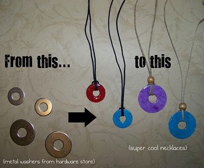 washer necklaces (quick & easy DIY gift. Allow to dry overnight)