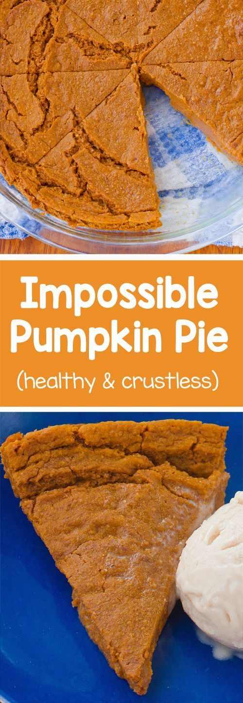 A homemade & crustless pumpkin pie with a soft, custard-like texture…    All for under 100 calories per slice! This recipe is without a doubt one of my most popular recipes, not just during the holid