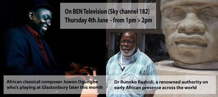Don't miss Dr Runoko Rashidi & Juwon Ogungbe on @BENTELEVISIONS tomorrow at 1pm Sky 182 @s0ngb1rd
