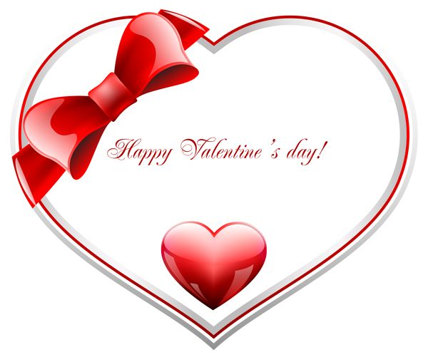 Red and White Happy Valentine's Day Heart PNG Clip Art ...