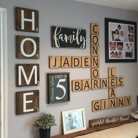 HOME Extra Large Scrabble Style Letter Tiles Set Of 4 Gallery Wall Decor Home