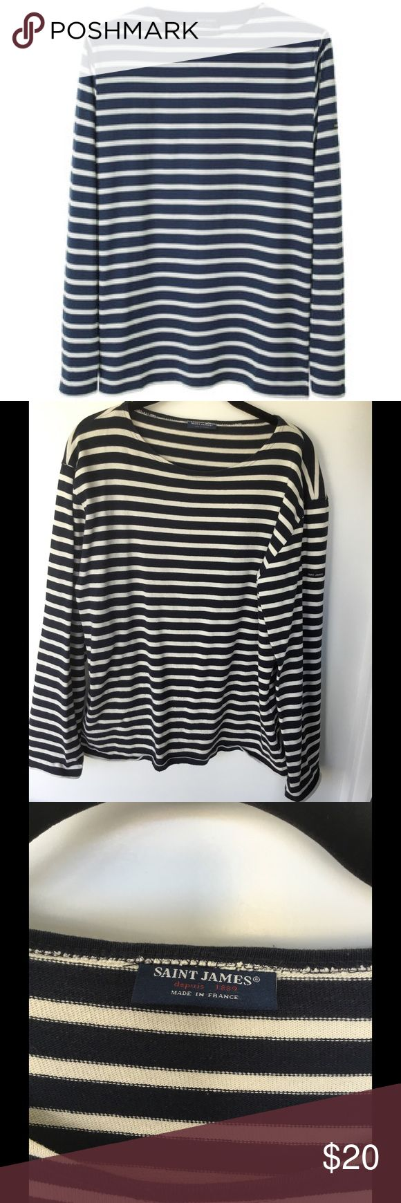 J. Crew X St. James Nautical Striped Sweatshirt J. Crew and Saint James combined to create this nautical sweatshirt. Crafted in substantial cotton by Saint James, reknowned for their knit shirts since 1850. Slight slouchy fit. Boat neck and long sleeves. Unisex-Men's large, Women's medium or large. Wear & pilling pictured & reflected in price. Please submit reasonable offers via the 'Offer' function. NO negotiating in the comments section, trading or alternate site transactions. All items…
