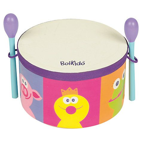 This is My First Drum from Boikido. Bright, cheerful and the mallets are housed on board!
