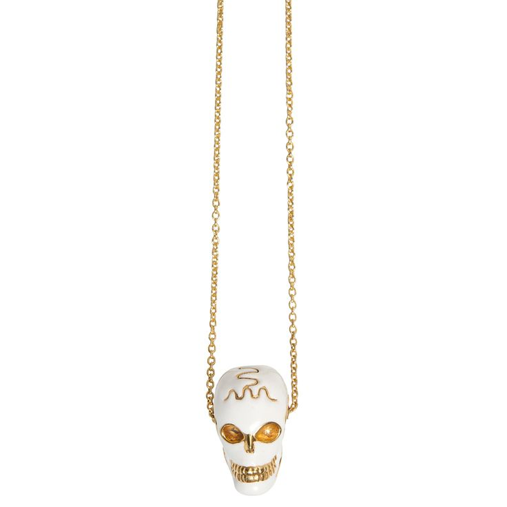 Skull enamel pendant - $150. Statement long necklace comprising of 22k gold plated chain, with large white enamel and gold plate detailed skull pendant. Lovingly designed in Sydney by label Pushmataaha. www.savethelastpinker.com.au/shop/skull-enamel-pendant-necklace/