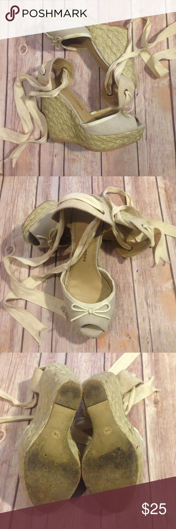 Super Cute Nude Espadrille Wedges Love these! They are a great versatile braided espadrille wedge! Front is a beige/light tan canvas with ivory grosgrain edging & ivory bow. Ties are ivory herringbone cotton ribbon. Only worn a couple times with only signs of wear to the soles. Chinese Laundry Shoes Wedges