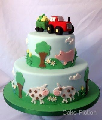 Cake Fiction: Red Tractor and Farm Animals Birthday Cake.....of course the tractor would have to be green for us.