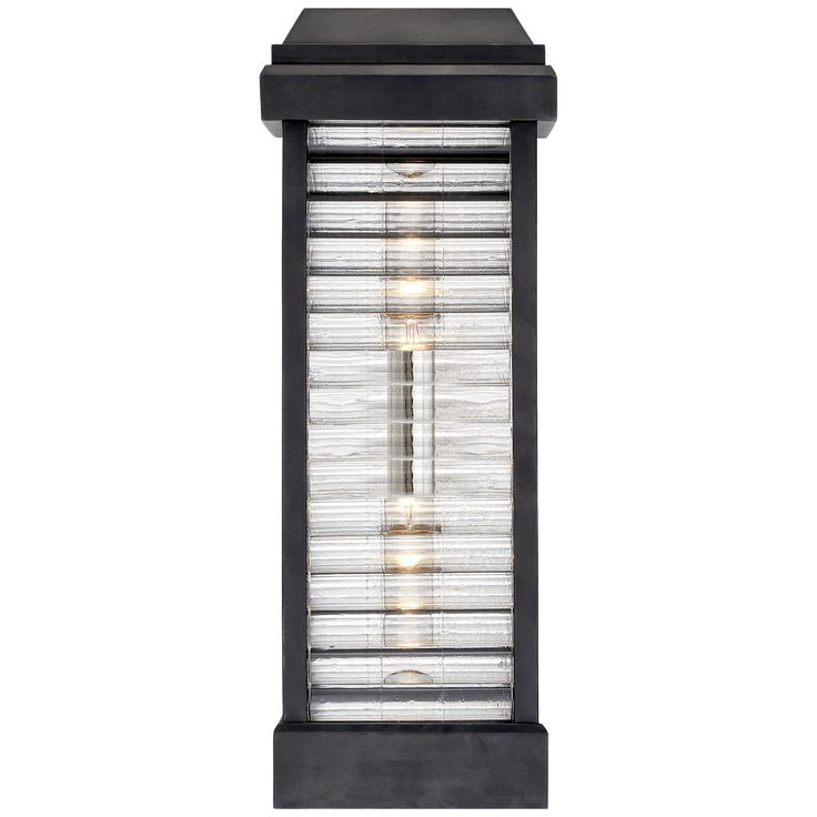 Dunmore Curved Glass Louver Sconce In Antique Burnished Brass With Clear  Ribbed Glass. Outdoor Sconces ...