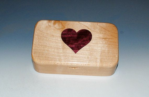 Maple Wood Treasure Box with a Heart Inlay of Purple Heart - Small Wood Box Treasure Box Keepsake Box Small Jewelry Box Wooden BoxBoxes by BurlWoodBox