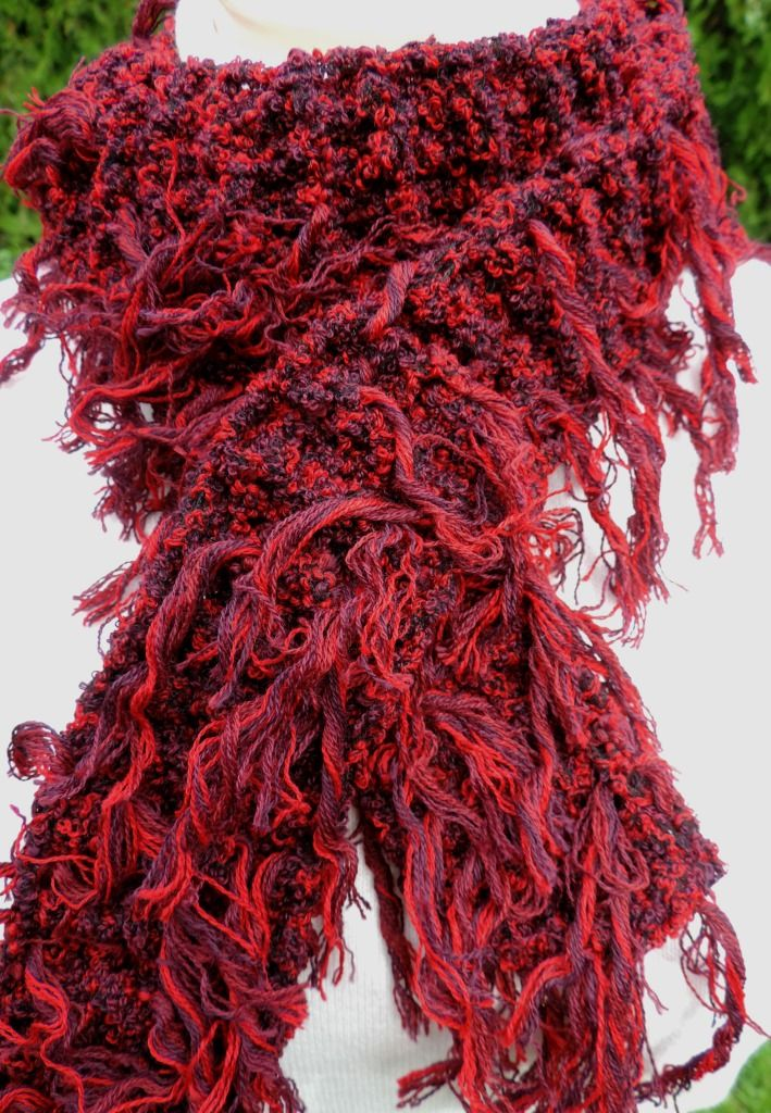 """Very interesting unusual scarf, soft to the touch and well worn. Fancy yarn with tassels which creates a unique look :-) Measurement: Scarflette length is ~ 54"""" (~ 140 cm.) Composition: - 43% Lana Merino Wool, 42% Acrylic and 15% Polyamide - red color - unisex. Handmade with ♥ $10.42 USD"""