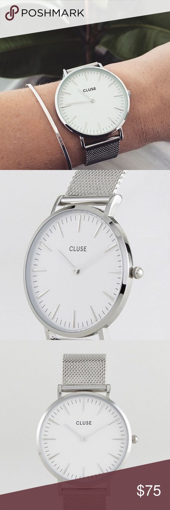Cluse La Boheme Mesh Silver White Watch Elegantly simple & classy watch. Silver stainless steel mesh band with clasp and a clean minimalist style watch face. Matches with everything😊 Brand new with tags!   Watch face 38mm diameter. Wrist band 18mm wide. Cluse Accessories Watches