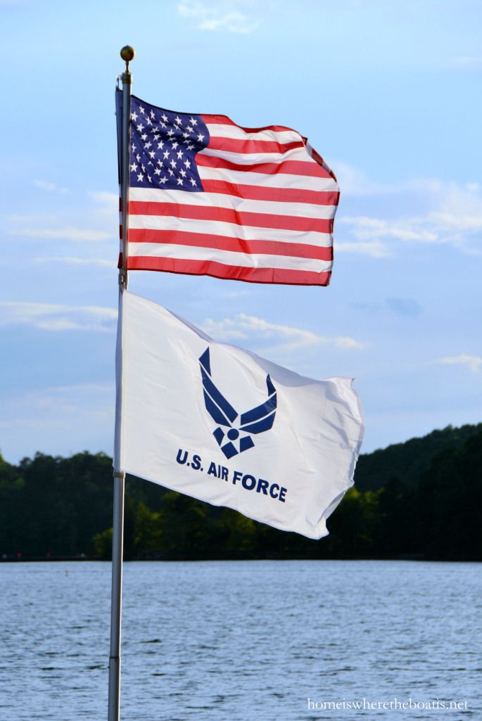 U.S. Air Force Flag and United States Flag, Lake Norman