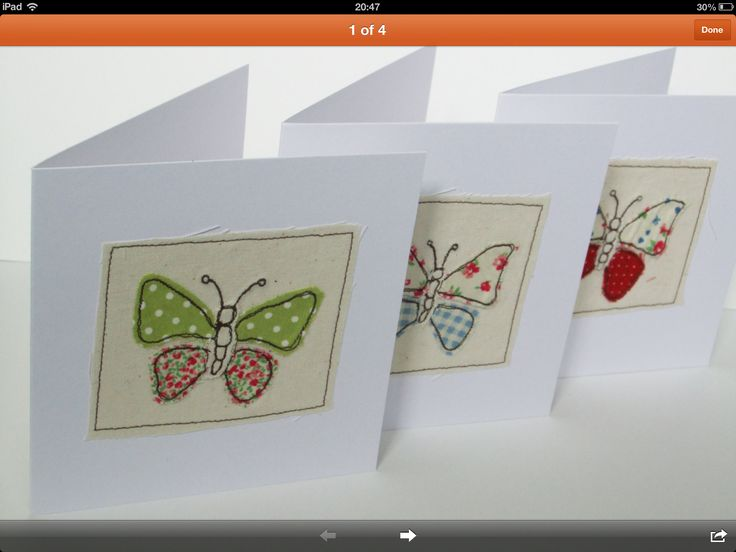 Butterfly, machine embroidered cards