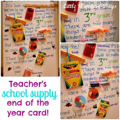 School Supply Teacher Appreciation Card