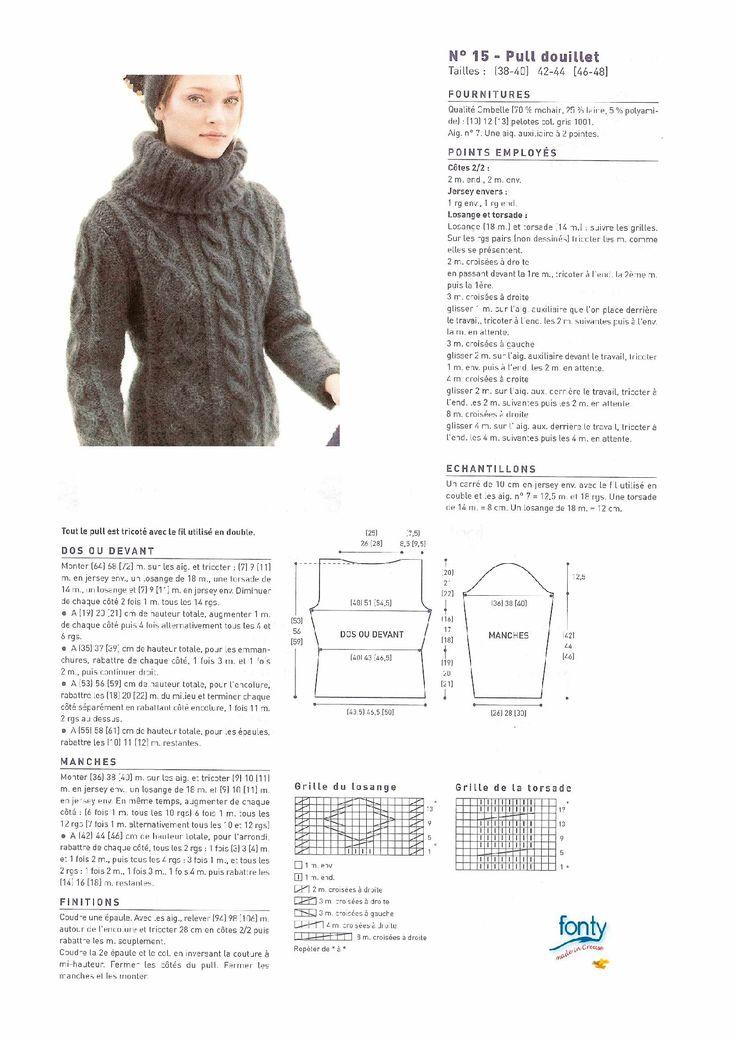 Modele tricot gratuit pull femme mohair