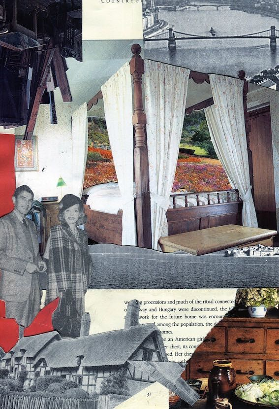 Thatched cottage and canopy bed, collage.