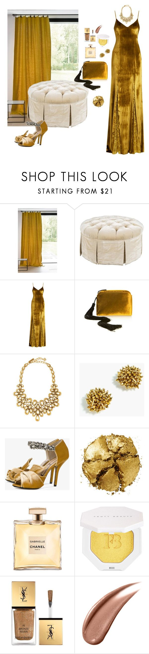 """Radiance"" by chelsofly on Polyvore featuring Galvan, The Row, Oscar de la Renta, J.Crew, N°21, Pat McGrath, Puma, Yves Saint Laurent, gold and metallic"