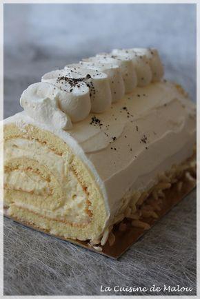 Voilà un grand classique servi à noël : la bûche pâtissière à la vanille. Souvent, la bûche pâtissière est au Grand Marnier, recouverte de crème au beurre vanille. Ici, pas d'alcool et pas de crème au beurre. J'ai opté pour plus de légèreté dans la texture... #bûche #crèmepâtissière #génoise