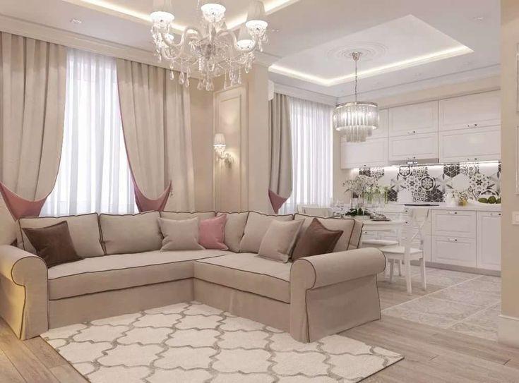 Дизайн кухни гостиной в светлых тонах фото позволяют полностью