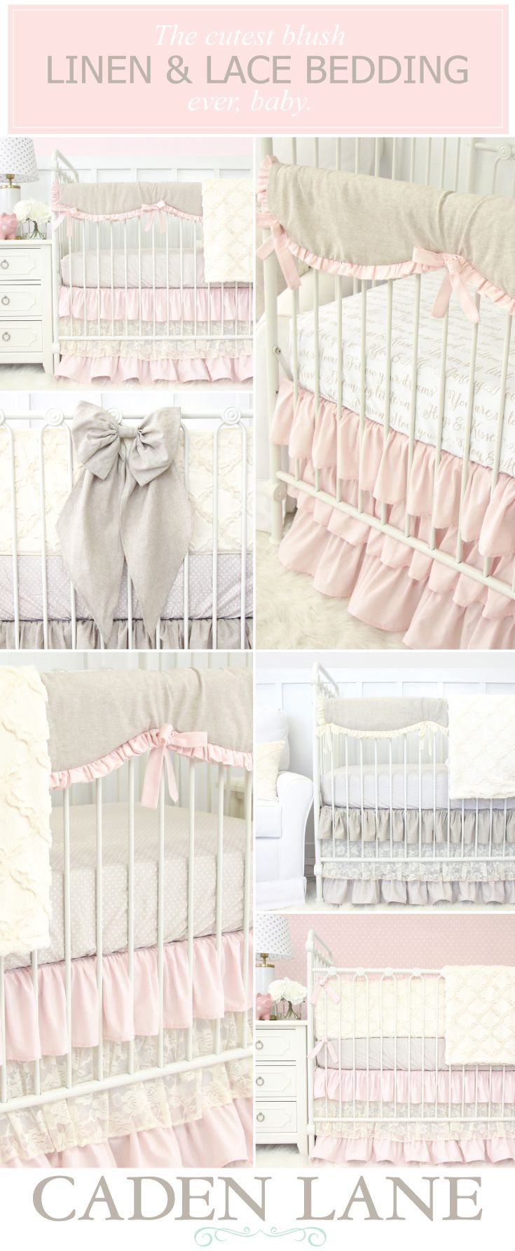 Our Linen & Lace Nursery Bedding Collection is absolutely stunning. Shop these looks and get the nursery look you've been dreaming of!
