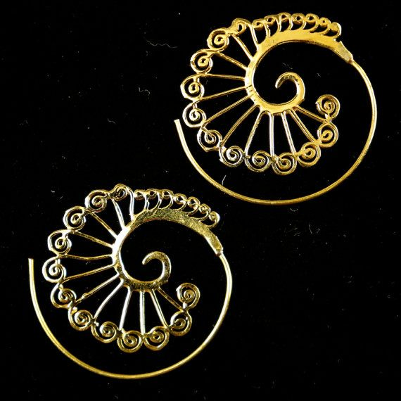 Boho Spiral earrings ethnic earrings tribal by DhanaJewellery