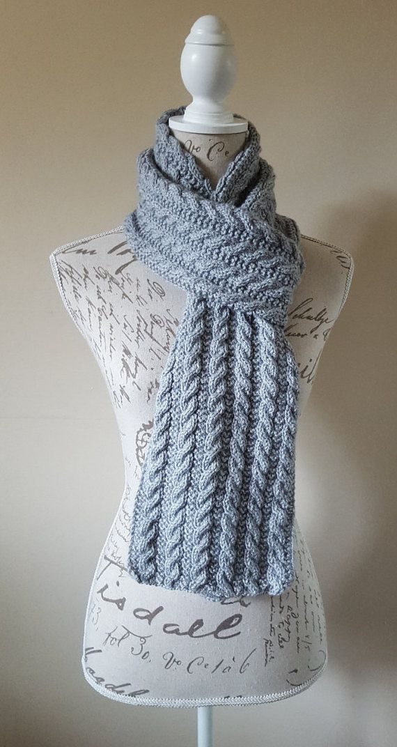 Grey Color Hand-Knitted Unisex Scarf