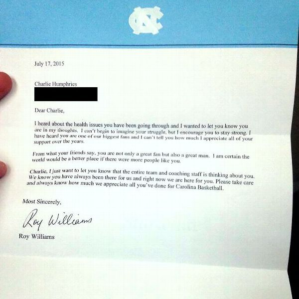 Unc Coach Roy Williams Sends Letter To Ailing Fan  Basketball