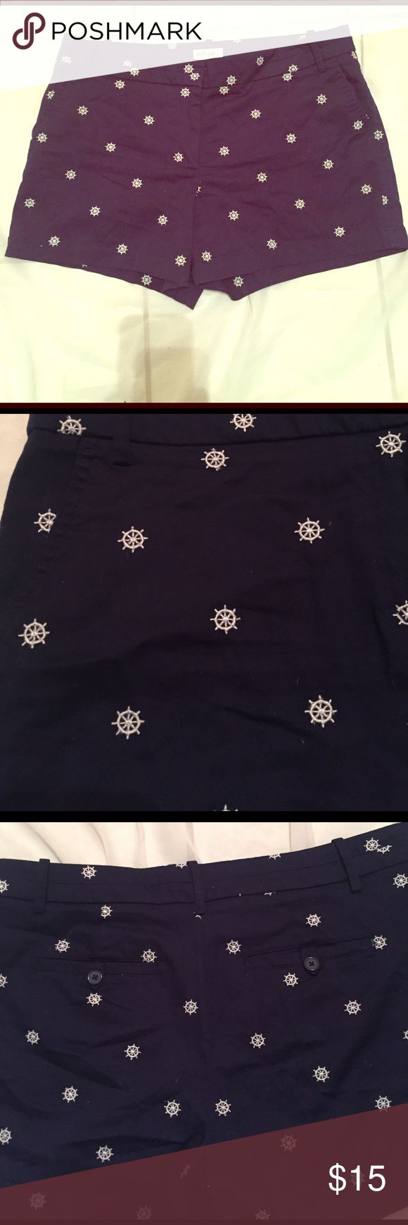 Cute Nautical Shorts Super cute nautical shorts in navy blue. They have little boat wheels embroidered all over in white. 2 back pockets and 2 pockets on the side/front.  Third pic is back view. telluride clothing Shorts
