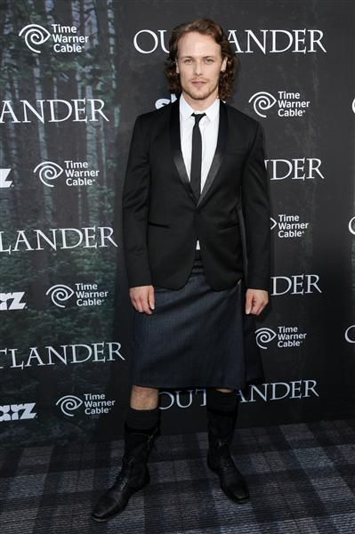 "July 25, 2014 - ""Outlander"" hunk Sam Heughan's character Jamie Fraser wears a kilt on the hit STARZ show, but the actor has been following suit in real life too, including for the Comic-Con ""Outlander"" premiere in San Diego."