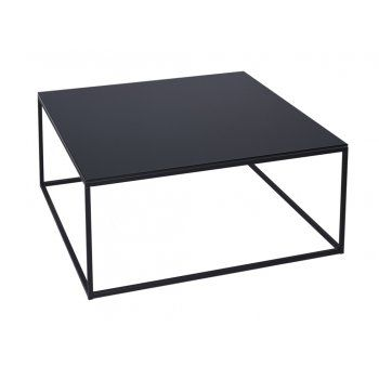 Gillmore Space Black Glass and Black Metal Contemporary Square Coffee Table