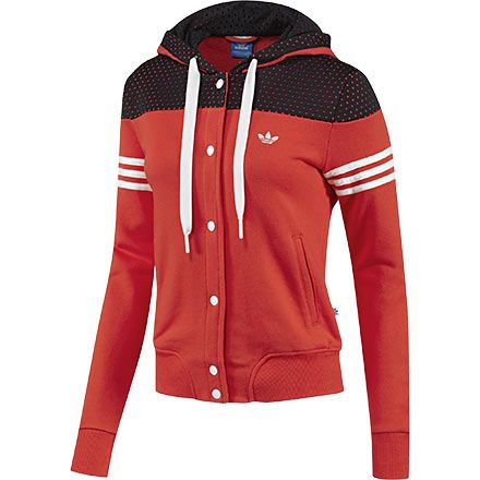Hoodie is red with white frajas and has black colored cap is round his neck has 6 buttons with two side pockets has 2 tucks it costs $ 370 dollars