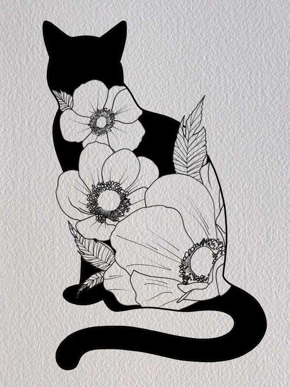 Cat And Flowers Illustration Print Digital Art Digital In 2020 Illustration Art Drawing Cats Art Drawing Cat Art