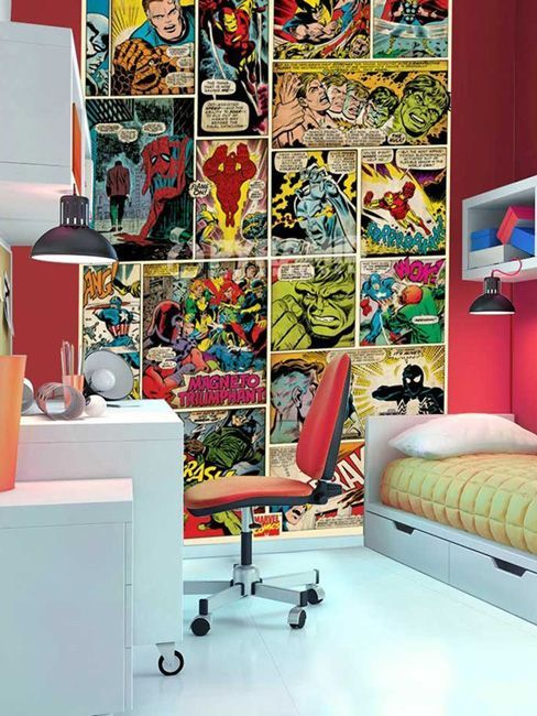1000 ideas about marvel bedroom on pinterest marvel for Comic book mural