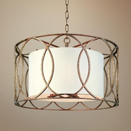 "Sausalito 25"" Wide Silver Gold Pendant Light:$652."